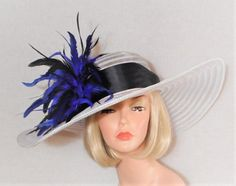 b38c2b64dca White Hat - Blue and Black Feathered Hat - Kentucky Derby Hat