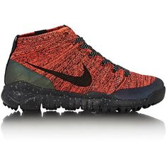 Nike Women's Flyknit Trainer Chukka FSB Sneakers ($79) ❤ liked on Polyvore featuring shoes, sneakers, red, chukka boots, nike trainers, flyknit sneakers, chukka sneakers and flyknit chukka trainer