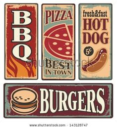 Vintage fast food tin signs. Retro metal signs collection with pizza, burger, hot dog and barbecue. Delicious food backgrounds and poster de...