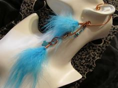 Blue turquoise cross and saddle feather ear wrap / feather hair extension... on sale..