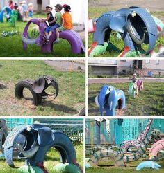Pra Gente Miúda: Playground com reciclagem de pneus Pra Gente Miúda: Playground with tire recycling Tire Playground, Outdoor Playground, Playground Ideas, Children Playground, Playground Flooring, Tired Animals, Tire Craft, Reuse Old Tires, Recycled Tires