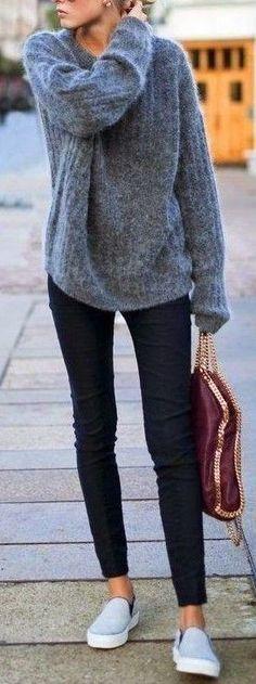 #fall #popular #outfits | Grey Oversized Sweater + Black Denim