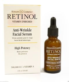 Retinol Anti-Wrinkle Facial Serum is a high potency deep penetrating treatment that will restore a youthful look by minimizing the visible signs of aging. Facial Serum, Face Skin Care, Anti Wrinkle, Hot Sauce Bottles, Vitamins, Cosmetics, Link, Image, Skincare Routine