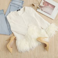 To find out about the White Faux Fur Trim Tweed Blazer at SHEIN, part of our latest Blazers ready to shop online today! Girls Fashion Clothes, Summer Fashion Outfits, Casual Winter Outfits, Fall Outfits, Fashion Fashion, Fashion Trends, Stylish Dress Designs, Stylish Dresses, Stylish Outfits