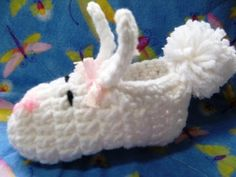 Easy #crochet baby bunny slipper - This is an easy slipper anyone can make.  So cute too
