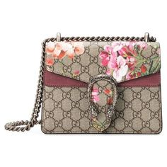 Women's Gucci Mini Dionysus Gg Blooms Canvas & Suede Shoulder Bag ($1,690) ❤ liked on Polyvore featuring bags, handbags, shoulder bags, brown suede handbag, mini handbags, brown shoulder bag, gucci handbags and over the shoulder handbags
