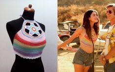Crochet Summer Tops, Crochet Halter Tops, Crochet Shirt, Crochet Crop Top, Boho Tops, Rainbow Crochet, Hippie Outfits, Festival Outfits, Crochet Clothes