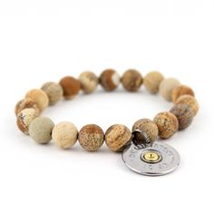Wood Beaded Bracelet with Silver Shotgun Shell