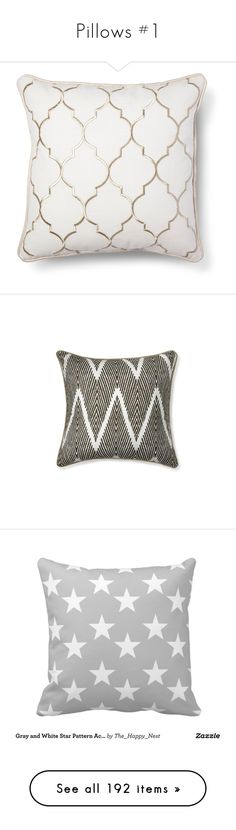 """Pillows #1"" by missblue1 ❤ liked on Polyvore featuring home, home decor, throw pillows, pillows, filler, home accessories, pillows/blankets, embroidered throw pillows, white home accessories and gold home decor"