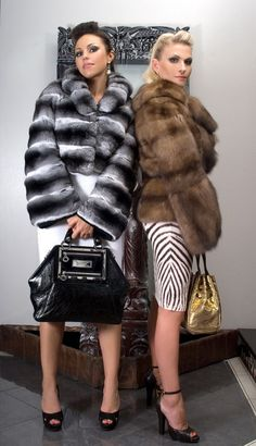 black Versace bag, chinchilla and sable fur.