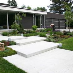 hous exterior, stair, contemporari entri, minneapolis, front entranc, contemporari landscap, cedarisl contemporari, garden, step