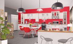 Une cuisine en bois blanc et rouge flamboyant