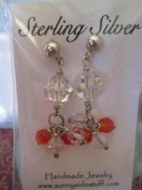 Sterling silver and round swarovski earrings. Free Shipping
