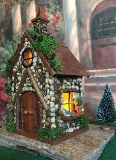 House /Fairy House with Lights / Fairy House with Copper Roof / Fairy Cottage / Fairy G. Fairy House /Fairy House with Lights / Fairy House with Copper Roof / Fairy Cottage / Fairy Gar Mini Fairy Garden, Fairy Garden Houses, Fairies Garden, Fairy Garden Furniture, Copper Roof, Little Gardens, Ceramic Houses, Fairy Doors, Garden Crafts