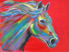 """ORIGINAL Gorgeous Colorful HORSE Expressionist Red Semi-Abstract Acrylic on 11""""x14"""" Canvas Panel by K.McCants"""