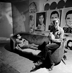 <> Andy Warhol in the studio with painter Robert Indiana in New York