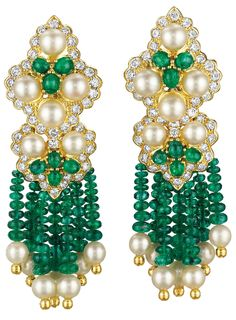A Pair of Cultured Pearl, Emerald and Diamond Ear Pendants. Each designed as a…