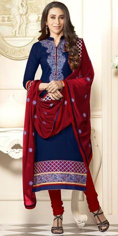 Karishma Kapoor Navy Blue And Maroon Cotton Salwar Suit With Dupatta.