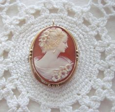 14k GOLD CAMEO Carved Shell PIN Brooch Pendant by jewelryannie, $125.00