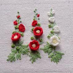 hollyhock in buttonhole stitch #art #embroideryart #embroidery #handembroidery #needlework