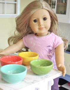 Pippaloo found these doll-sized bowls at Michael's -- perfect for food prep bowls and bowls of snack foods!