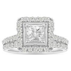 14K White Gold 1 1/2 Carat TDW Micro Pave Diamond Bridal Set, Princess Center (J-K, I1-I2) (Size 4), Women's, Silver (solid)