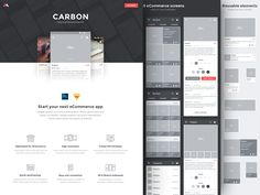 Hi everyone,  I'm working on a landing page for CARBON, a material wireframe kit which is suitable for creating high quality wireframes & mockups for eCommerce apps.  Coming soon!