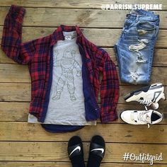 Today's top #outfitgrid is by @parrish.supreme. #BBC #Tee, #UO #Flannel, #Ripped #Levis, and #JordanIV #Cements #flatlay #flatlayapp #flatlays @flatlayapp