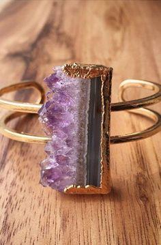 amethyst druzy cuff bracelet