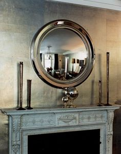The dining room wallpaper in Jennifer Lopez and Marc Anthony's home from my last post is Chinese Pewter from Roger Arlington . I was going. Metallic Wallpaper, Of Wallpaper, Metallic Paint, Gold Walls, Metal Walls, Silver Walls, Dining Room Wallpaper, Overmantle Mirror, Convex Mirror