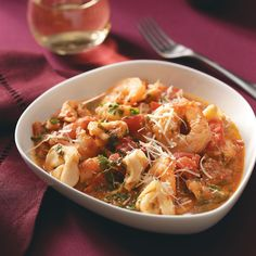 Shrimp & Tortellini in Tomato Cream for Two Recipe -This shrimp and pasta combination is one of my husband's favorites. It's healthy, and he doesn't even know it. It's easy to double for company. —Mary Kay LaBrie, Clermont, Florida