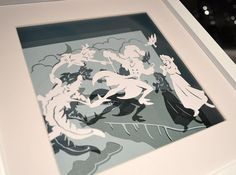 A magical Peter Pan paper cut scene, original and hand made. Peter battling against Captain Hook with Wendy and Tinkerbell in Neverland. The third scene in our Peter Pan collection. Grab a unique piece of art to reminisce those childhood memories. This original papercut would make a