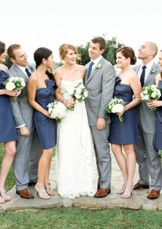 navy blue bridesmaids dresses & gray suits. love the color combo.