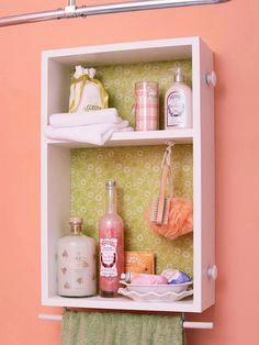 Old dresser drawer repurposed for wall storage/shelving