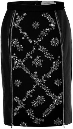 Preen by Thornton Bregazzi Leather/Wool Embellished Dotty Skirt in Black - ShopStyle Business Dress Code, Business Dresses, Women's Fashion Dresses, Skirt Fashion, Evening Skirts, Black Leather Skirts, Fall Skirts, Crayon, Chic Outfits