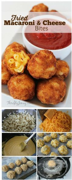 Fried Macaroni and Cheese Bites Not the healthiest of options, but it might very well be the most delicious! This fried macaroni and cheese bites recipe is easy, and will have your mouth watering just thinking about it. Appetizers For Party, Appetizer Recipes, Avacado Appetizers, Prociutto Appetizers, Mexican Appetizers, Halloween Appetizers, Party Recipes, Cheese Appetizers, Appetizer Ideas