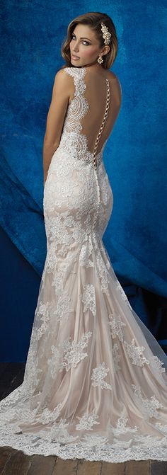 Wedding Dress by Allure Bridal Fall 2016 | Lace back fitted bridal gown