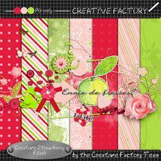 Scrapbooking Collaboration - June 2013, Creative Factory.  Creative Strawberries.  Lots of great digital scrapbooking freebies!*