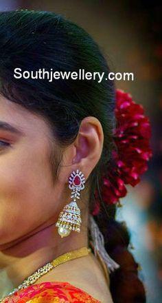 Beautiful Diamond Jhumkas