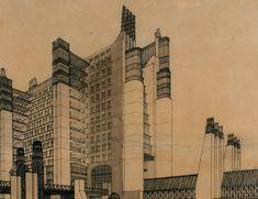 Pivotal Architectural Drawings : La Citte Nuova by Antonio Sant'Ella (1914)