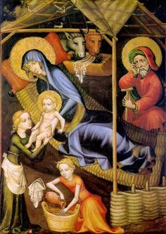 The Nativity (detail); Master of Salzburg; c. 1400; tempera on - Cerca con Google