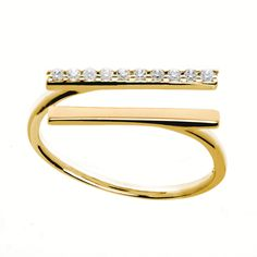 Double bar gold ring