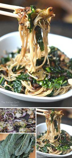 Sesame Kale Noodles (20 minutes, Vegan, GF