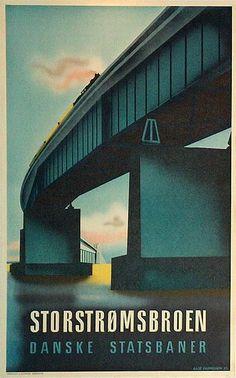 Danish vintage poster: Storstrømsbroen (bridge at Vordingborg, Sealand) - by Aage Rasmussen. Travel Ads, Travel Brochure, Travel And Tourism, Train Travel, Poster Vintage, Vintage Travel Posters, Vintage Advertisements, Vintage Ads, Vintage Prints