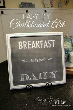 Breakfast Served Daily Chalkboard Art - Trash to Treasure Transformations - Super simple makeover - artsychicksrule.com