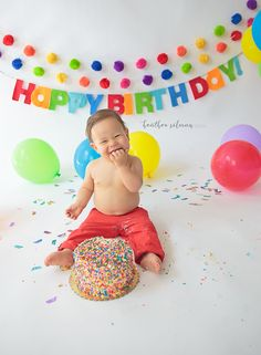 First birthday, cake smash, primary colors, rainbow colors, rainbow sprinkles