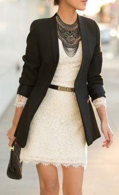 http://www.styleyourwear.com/category/robe/ Tour de cou et association dentelle blanche avec veste3/4