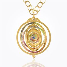 Temple St. Clair 18K Eight Ring Tolomeo Pendant with mixed colored sapphires and diamonds (=)