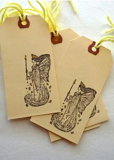Clearance  6 handstamped tags Golden Fairy for by LDphotography