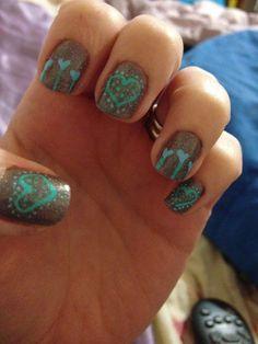 Blue heart nails